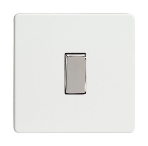 Varilight XDQ1S Screwless Premium White 1 Gang 10A 1 or 2 Way Rocker Light Switch
